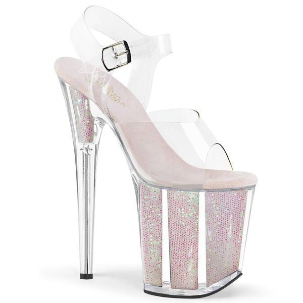 Product image of Pleaser FLAMINGO-808G Clear/Multicolour Glitter Inserts 8 inch (20 cm) Heel 4 inch (10 cm) Platform Ankle Strap Sandal With Glitter Insert Shoes