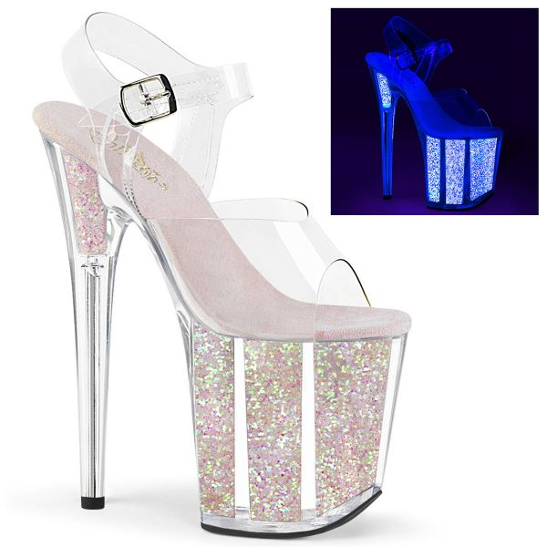 Product image of Pleaser FLAMINGO-808UVG Clear/Neon Multicolour Glitter 8 inch (20 cm) Heel 4 inch (10 cm) Platform Ankle Strap Sandal With Glitter Inserts Shoes