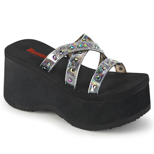 Product image of Demonia FUNN-19 Black Oil Flick Holographic 3 1/2 inch Studs Straps Black Sandal Shoes
