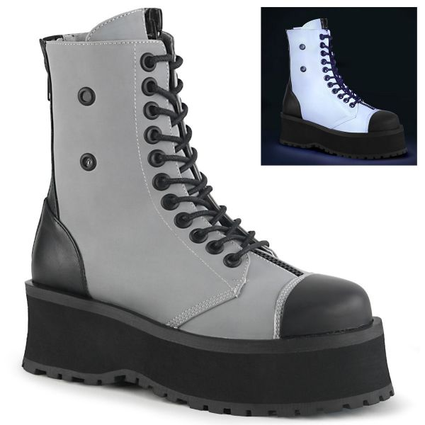 Product image of Demonia GRAVEDIGGER-10 Grey Reflective 2 3/4 inch Platform Lace-Up Ankle Boot Back Metal Zip