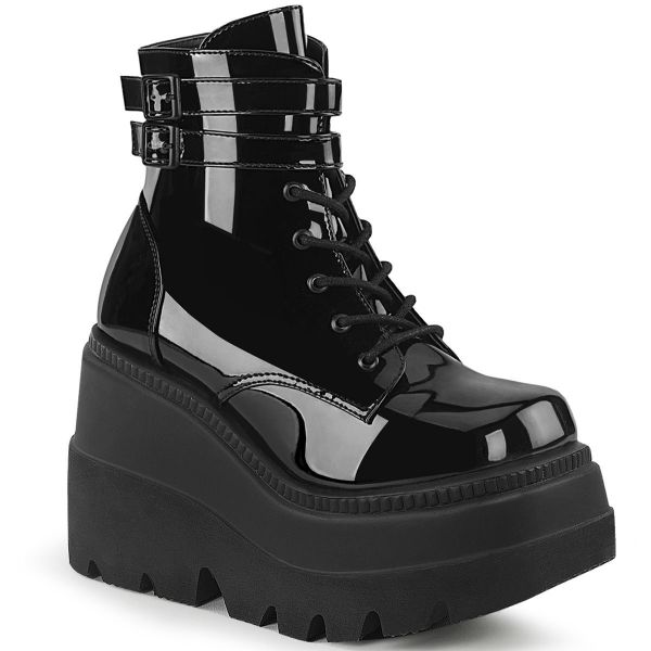 Product image of Demonia SHAKER-52 Black Patent 4 1/2 inch Wedge Platform Ankle Boot Side Zip