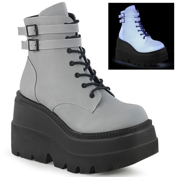 Product image of Demonia SHAKER-52 Grey Reflective 4 1/2 inch Wedge Platform Ankle Boot Side Zip