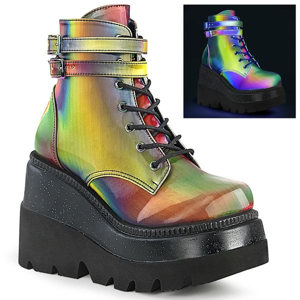 Product image of Demonia SHAKER-52 Rainbow Reflective 4 1/2 inch Wedge Platform Ankle Boot Side Zip