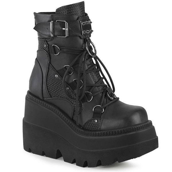 Product image of Demonia SHAKER-60 Black Vegan Faux Leather 4 1/2 inch Wedge Platform Lace-Up Ankle Boot Back Metal Zip