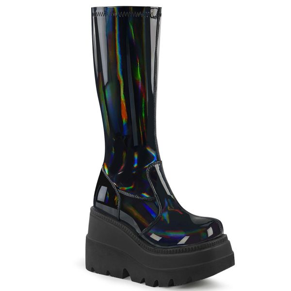Product image of Demonia SHAKER-65 Stretch Black Patent Holographic 4 1/2 inch Wedge Platform Stretch Knee High Boot Back Zip