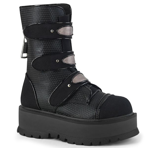 Product image of Demonia SLACKER-101 Black Vegan Faux Leather-Canvas 2 inch Platform Lace-Up Mid-Calf Boot Back Zip