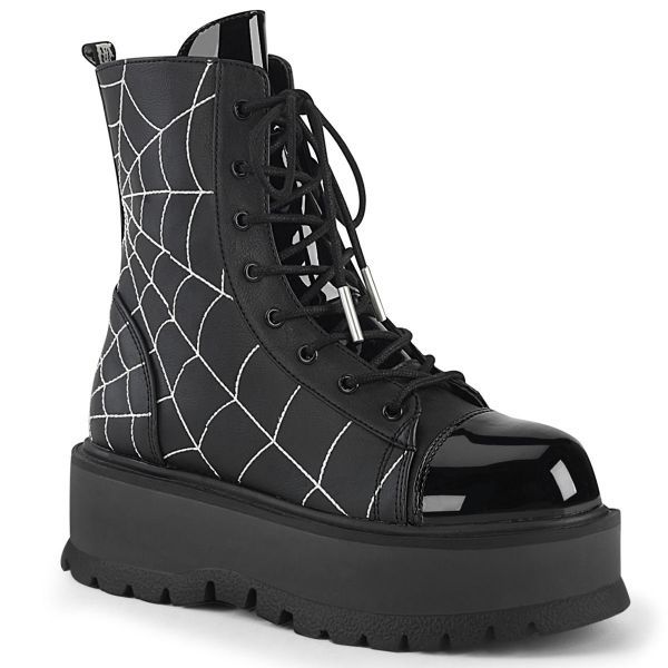 Product image of Demonia SLACKER-88 Black Vegan Faux Leather- Patent 2 inch Platform Lace-Up Ankle Boot Side Zip