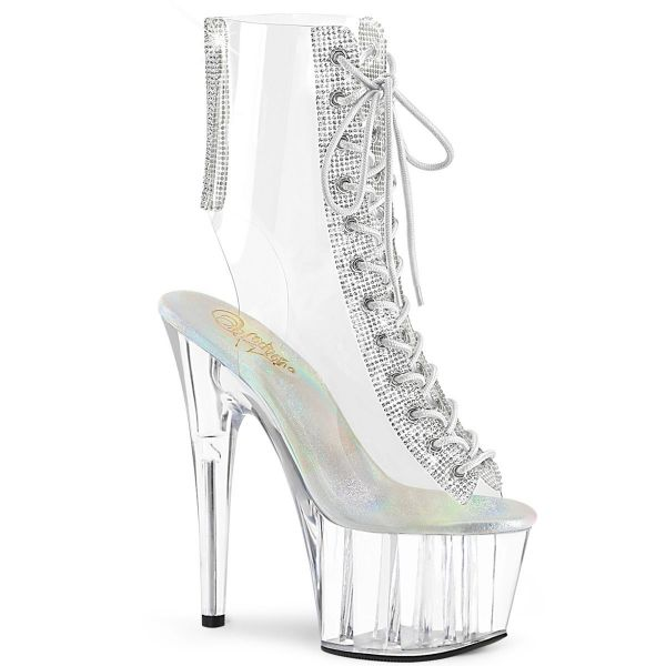 Product image of Pleaser ADORE-1016C-2 Clear-Rhinestones/Clear 7 inch Heel 2 3/4 inch Platform Open Toe/Heel Lace-Up Ankle Boot With Rhinestones