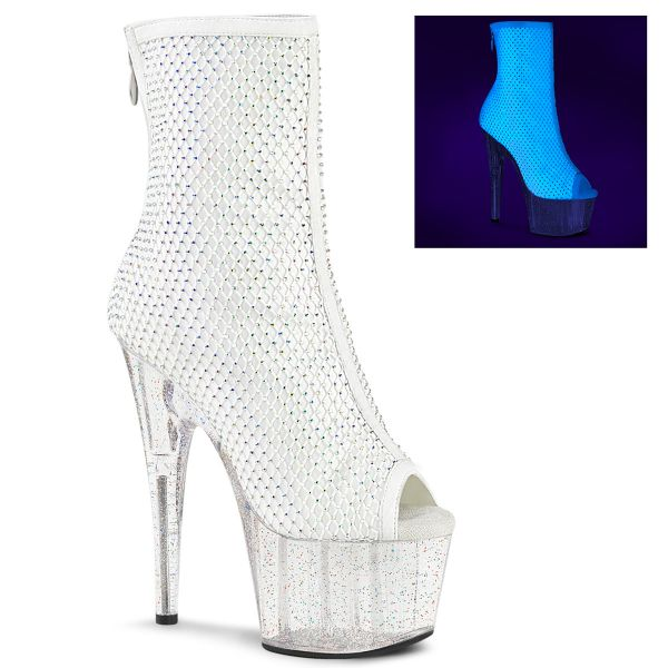 Product image of Pleaser ADORE-1031GM White Fabric-Rhinestones/Clear 7 inch (17.8 cm) Heel 2 3/4 inch (7 cm) Platform Open Toe Ankle Boot Back Zip