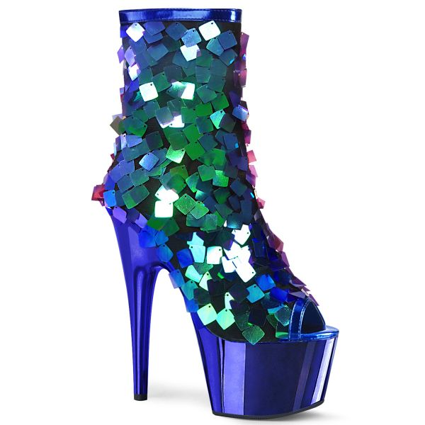 Product image of Pleaser ADORE-1031SSQ Iri.Green Sequins-R.Blue Metpu/R.Bluechrome 7 inch (17.8 cm) Heel 2 3/4 inch (7 cm) Platform Open Toe Ankle Boot Side Zip