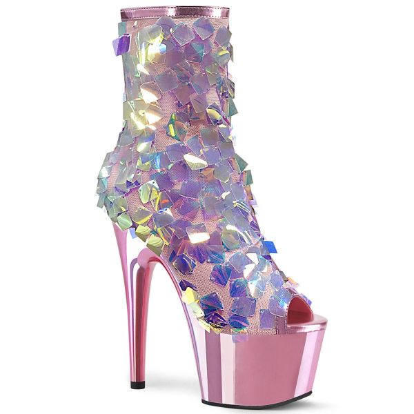 Product image of Pleaser ADORE-1031SSQ Iri.Multicolour Sequins-B.Pink Metallic Polyurethane (Pu)/B.Pink Chrome 7 inch (17.8 cm) Heel 2 3/4 inch (7 cm) Platform Open Toe Ankle Boot Side Zip