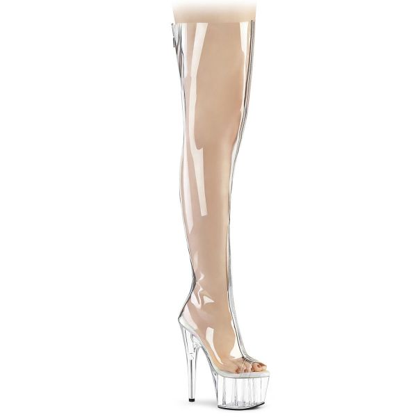 Product image of Pleaser ADORE-3021 Clear Polyurethane (Pu)-Silver Metallic/Clear 7 inch (17.8 cm) Heel 2 3/4 inch (7 cm) Platform Open Toe Thigh High Boot Back Zip