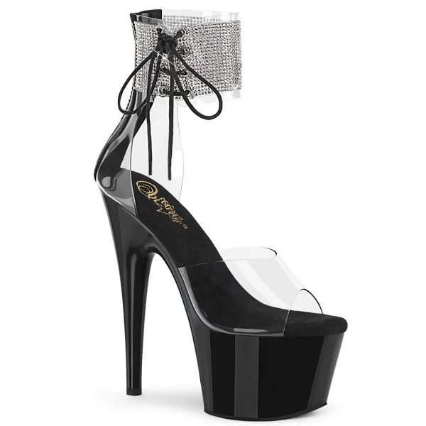 Product image of Pleaser ADORE-724RS Clear/Black 7 inch (17.8 cm) Heel 2 3/4 inch (7 cm) Platform Ankle Cuff Sandal With Rhinestones Back Zip Shoes
