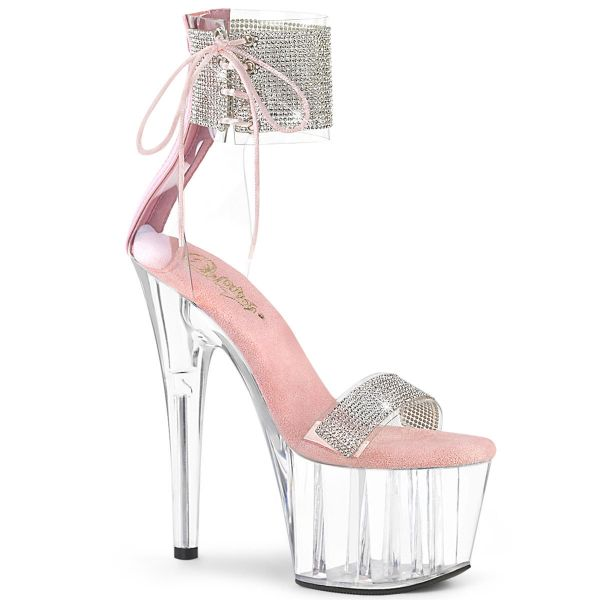 Product image of Pleaser ADORE-727RS Clear-Baby Pink/Clear 7 inch (17.8 cm) Heel 2 3/4 inch (7 cm) Platform Ankle Cuff Sandal With Rhinestones Back Zip