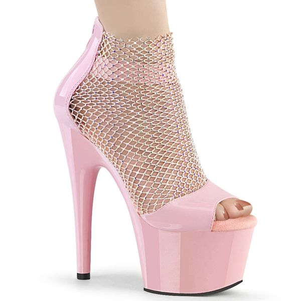 Product image of Pleaser ADORE-765RM Baby Pink Patent-Rhinestones Mesh/Baby Pink 7 inch (17.8 cm) Heel 2 3/4 inch (7 cm) Platform Close Back Shootie Sandal Back Zip Shoes