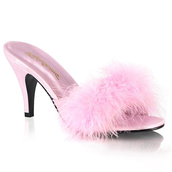 Product image of Fabulicious AMOUR-03 Baby Pink Polyurethane (Pu)-Faux Fur 3 inch (7.6 cm) Classic Faux Feathers Slipper