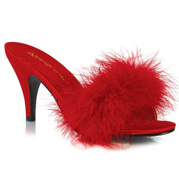 Product image of Fabulicious AMOUR-03 Red Polyurethane (Pu)-Faux Fur 3 inch (7.6 cm) Classic Faux Feathers Slipper