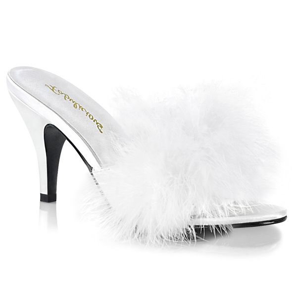 Product image of Fabulicious AMOUR-03 White Polyurethane (Pu)-Faux Fur 3 inch (7.6 cm) Classic Faux Feathers Slipper