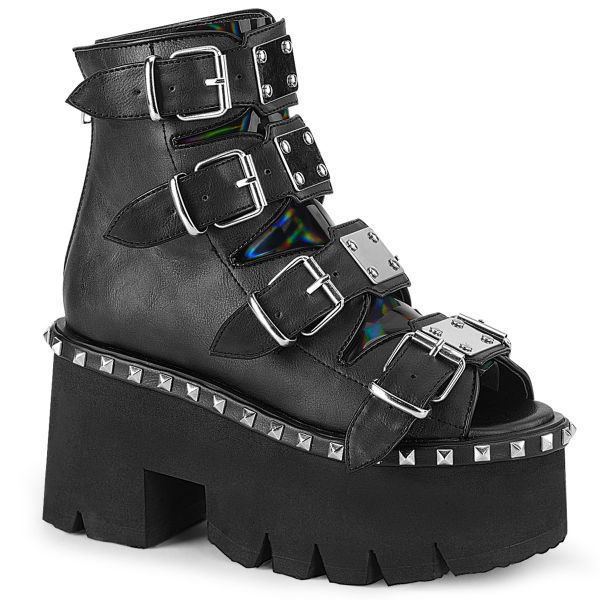 Product image of Demonia ASHES-70 Black V Faux Leather & Holographic 3 1/2 inch (9 cm) Chunky Heel 2 1/4 inch Platform Ankle Boot Back Metal Zip