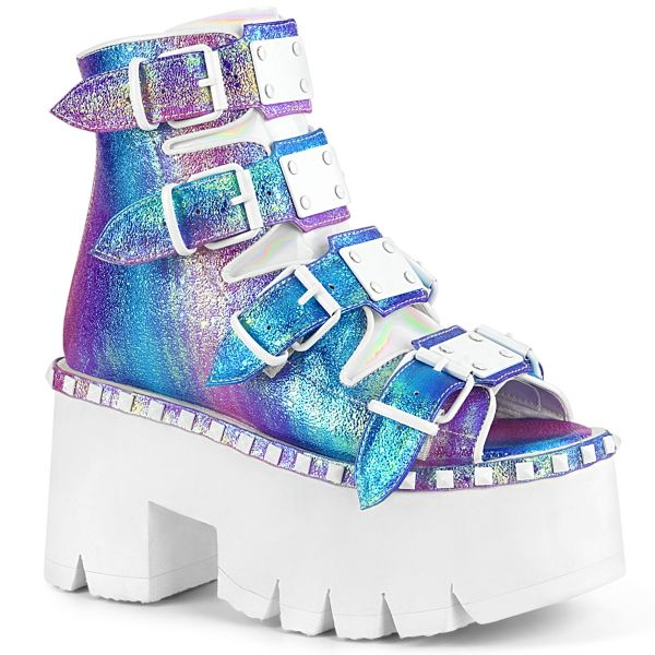 Product image of Demonia ASHES-70 Purple Multicolour Iridescent V Faux Leather 3 1/2 inch (9 cm) Chunky Heel 2 1/4 inch Platform Ankle Boot Back Metal Zip