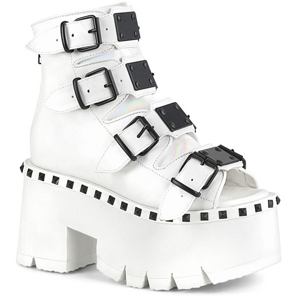 Product image of Demonia ASHES-70 White Vegan Faux Leather 3 1/2 inch (90 cm) Chunky Heel 2 1/4 inch Platform Ankle Boot Back Metal Zip