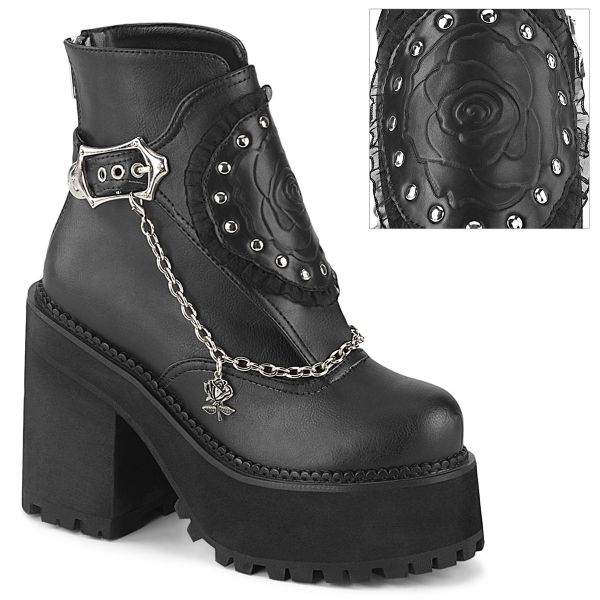 Product image of Demonia ASSAULT-55 Black Vegan Faux Leather 4 3/4 inch (12.1 cm) Heel 2 1/4 inch (5.7 cm) Platform Ankle Boot With  Shield Back Zp