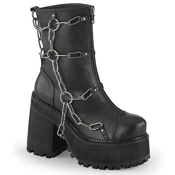 Product image of Demonia ASSAULT-66 Black Vegan Faux Leather 4 3/4 inch (12.1 cm) Heel 2 1/4 inch (5.7 cm) Platform Ankle Boot Front Zip