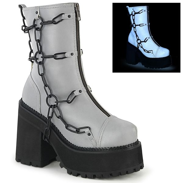 Product image of Demonia ASSAULT-66 Grey Reflective Vegan Faux Leather 4 3/4 inch (12.1 cm) Heel 2 1/4 inch (5.7 cm) Platform Ankle Boot Front Zip