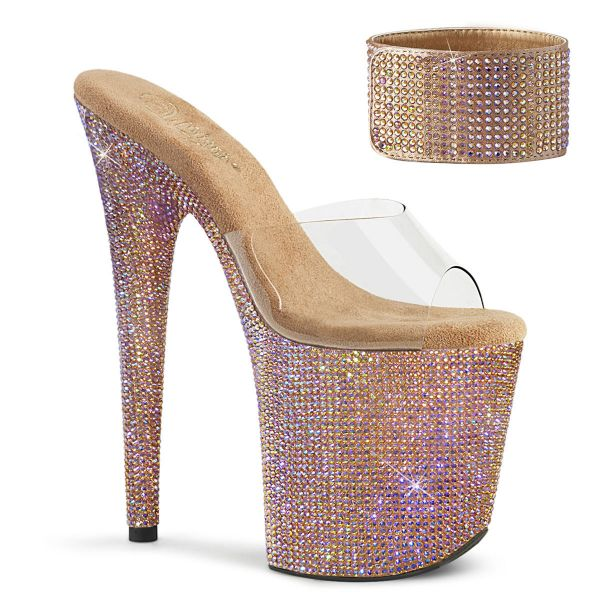 Product image of Pleaser BEJEWELED-812RS Clear/Rose Gold Multicolour Rhinestones 8 inch (20 cm) Heel 4 inch (10 cm) Platform Sandal With Rhinestones