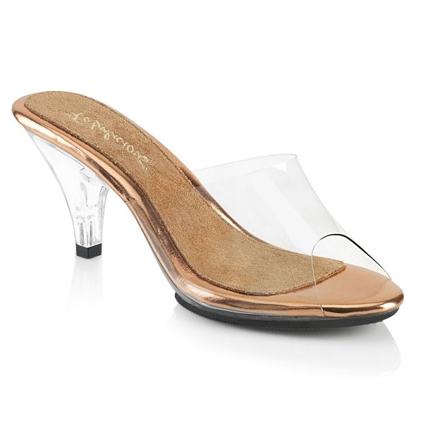 Product image of Fabulicious BELLE-301 Clear-Rose Gold/Clear 3 inch (7.6 cm) Heel 1/8 inch (3 cm) Platform Slide Slide Mule Shoes