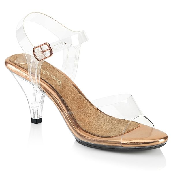 Product image of Fabulicious BELLE-308 Clear-Rose Gold/Clear 3 inch (7.6 cm) Heel 1/8 inch (3 cm) Platform Ankle Strap Sandal Shoes