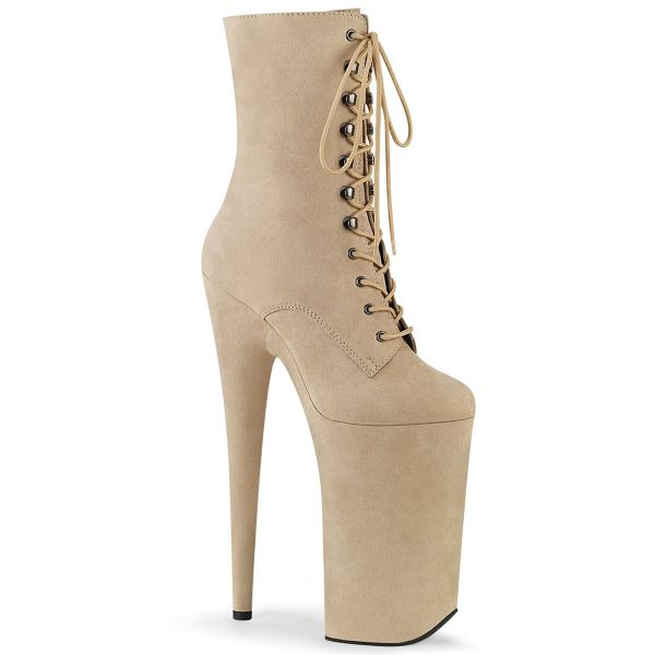 Product image of Pleaser BEYOND-1020FS Beige Faux Suede/Beige Faux Suede 10 inch (25.5 cm) Heel 6 1/4 inch (16 cm) Platform Lace-Up Ankle Boot Side Zip