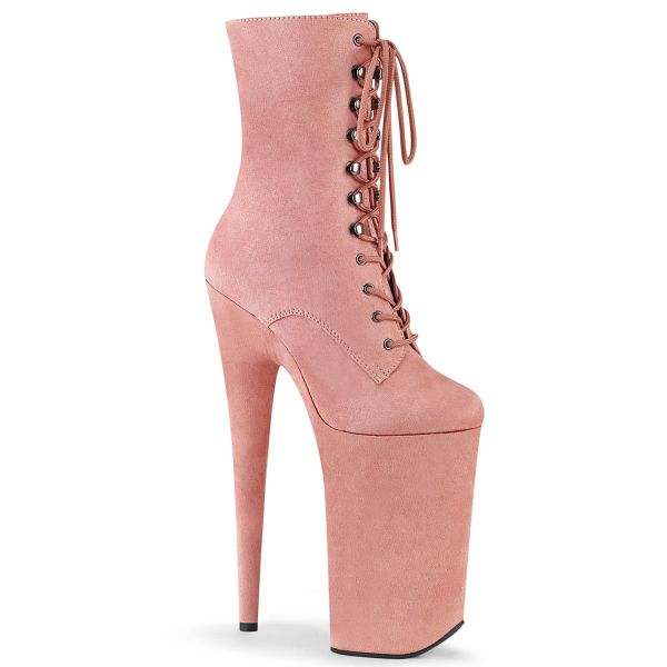 Product image of Pleaser BEYOND-1020FS Baby Pink Faux Suede/Baby Pink Faux Suede 10 inch (25.5 cm) Heel 6 1/4 inch (16 cm) Platform Lace-Up Ankle Boot Side Zip