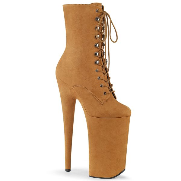 Product image of Pleaser BEYOND-1020FS Camel Faux Suede/Camel Faux Suede 10 inch (25.5 cm) Heel 6 1/4 inch (16 cm) Platform Lace-Up Ankle Boot Side Zip
