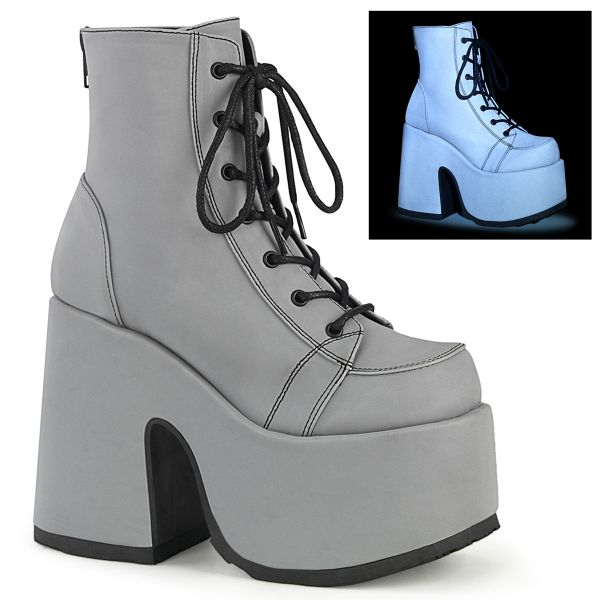 Product image of Demonia CAMEL-203 Grey Reflective Vegan Faux Leather 5 inch (12.7 cm) Chunky Heel 3 inch (7.5 cm) Platform Lace-Up Ankle Boot Metal Back Zip