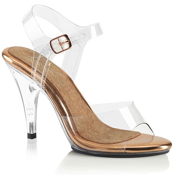 Product image of Fabulicious CARESS-408 Clear-Rose Gold/Clear 4 inch (10.2 cm) Heel 1/8 inch (3 cm) Platform Ankle Strap Sandal Shoes