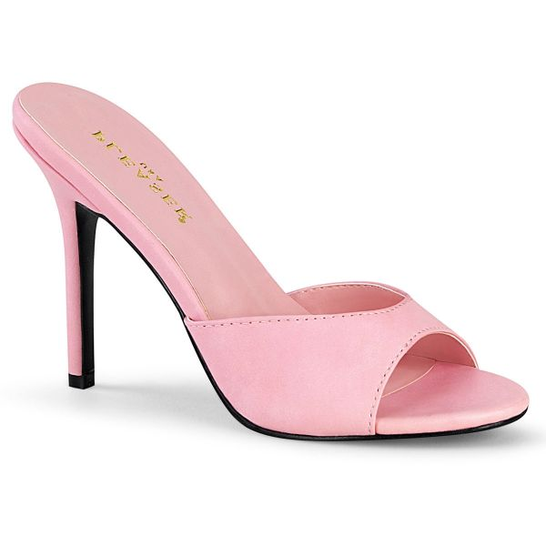 Product image of Pleaser CLASSIQUE-01 Baby Pink Polyurethane (Pu) 4 inch (10.1 cm) Heel Peep Toe Slide Slide Mule Shoes