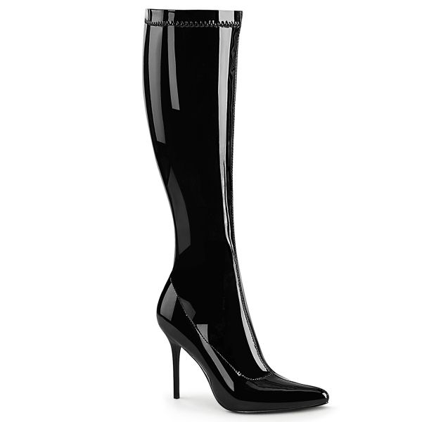 Product image of Pleaser CLASSIQUE-2000 Black Stretch Patent 4 inch (10.2 cm) Heel Stretch Knee Boot Side Zip Knee High Boot