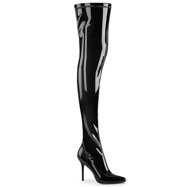 Product image of Pleaser CLASSIQUE-3000 Black Stretch Patent 4 inch (10.2 cm) Heel Stretch Thigh Boot Side Zip Thigh High Boot