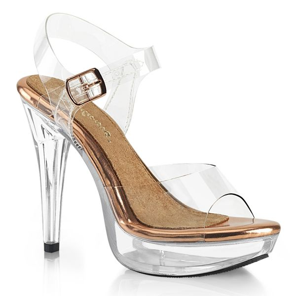 Product image of Fabulicious COCKTAIL-508 Clear-Rose Gold/Clear 5 inch (12.7 cm) Heel 1 inch (2.5 cm) Platform Ankle Strap Sandal Shoes