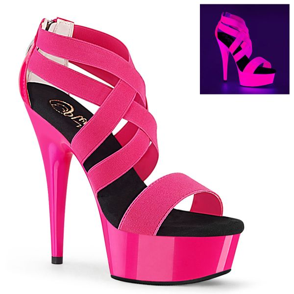 Product image of Pleaser DELIGHT-669UV Neon Hot Pink Elastic Band-Patent/Neon H P 6 inch (15.2 cm) Heel 1 3/4 inch (4.5 cm) Platform Blacklight (Uv) Reactive Criss Cross Sandal Back Zip Shoes