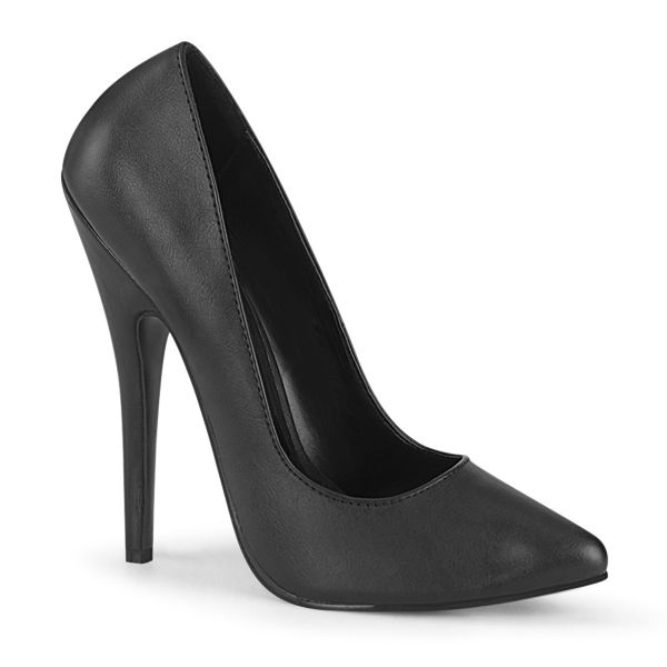 Product image of Devious DOMINA-420 Black Faux Leather 6 inch (15.2 cm) Classic Pump Court Pump Shoes