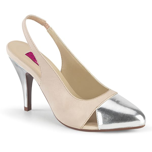 Product image of Pleaser Pink Label DREAM-405 Beige Faux Leather-Silver Metallic Polyurethane (Pu) 4 inch (10.1 cm) Heel Sling Back Pump Court Pump Shoes