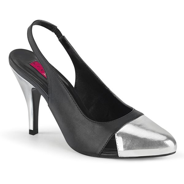 Product image of Pleaser Pink Label DREAM-405 Black Faux Leather-Silver Metallic Polyurethane (Pu) 4 inch (10.1 cm) Heel Sling Back Pump Court Pump Shoes