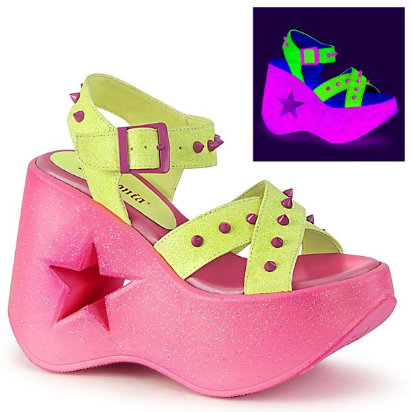 Product image of Demonia DYNAMITE-02 Neon Yellow Glitter/Pink 5 inch (12.7 cm) Stars Cutout Platform Wedge Ankle Strap Sandal Shoes
