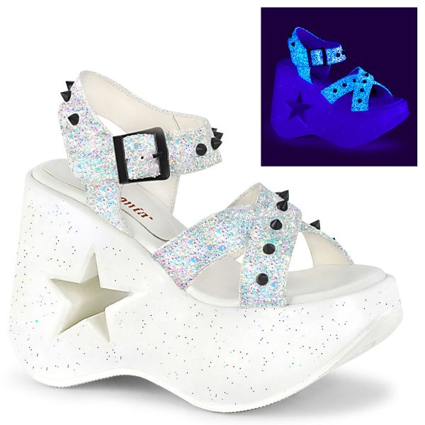 Product image of Demonia DYNAMITE-02 White Multicolour Glitter 5 inch Stars Cutout Platform Wedge Ankle Strap Sandal Shoes