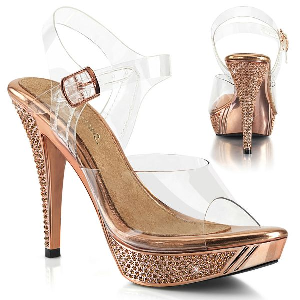 Product image of Fabulicious ELEGANT-408 Clear-Rose Gold/Rose Gold Chrome 4 1/2 inch (11.4 cm) Heel 1 inch (2.5 cm) Platform Ankle Strap Sandal With Rhinestones Shoes