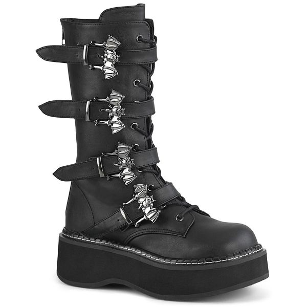 Product image of Demonia EMILY-322 Black Vegan Faux Leather 2 inch (5.1 cm) Platform Lace_Up Mid-Calf Boot With  4 Buckles Straps Back Zip