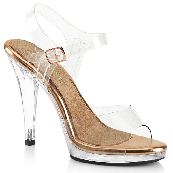 Product image of Fabulicious FLAIR-408 Clear-Rose Gold/Clear 4 1/2 inch (11.4 cm) Heel 1/2 inch (1.3 cm) Platform Ankle Strap Sandal Shoes
