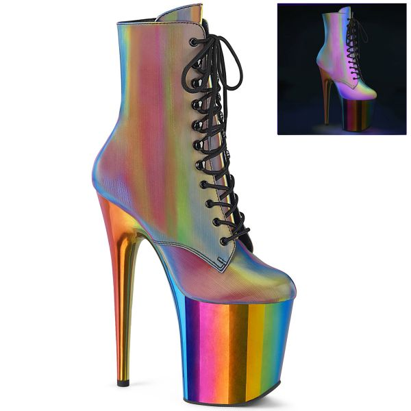 Product image of Pleaser FLAMINGO-1020RC-REFL Rainbow Reflective/Rainbow Chrome 8 inch (20 cm) Heel 4 inch (10 cm) Chromed Platform Lace-Up Ankle Boot Side Zip